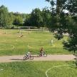 Для соблюдения дистанции в парках Казани нанесли круги на газонах